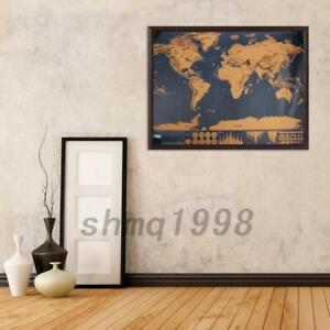 Carte du Monde à Gratter Voyage Affiche Scratch off World Map 82 x 59 CM