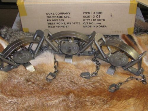 3 Duke #3 Coil Spring Traps  Beaver Fox Bobcat Coyote Wolf Trapping NEW SALE