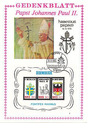 """1038 Deutschland 1980 """" Besuch Von Papst Johannes Paul Ii."""" Gedenkblat Europa"""