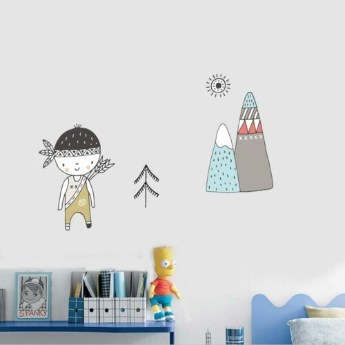 Tribal Girl Mountain Wall Sticker Nordic Decor Kid Nursery Room Woodland Decal