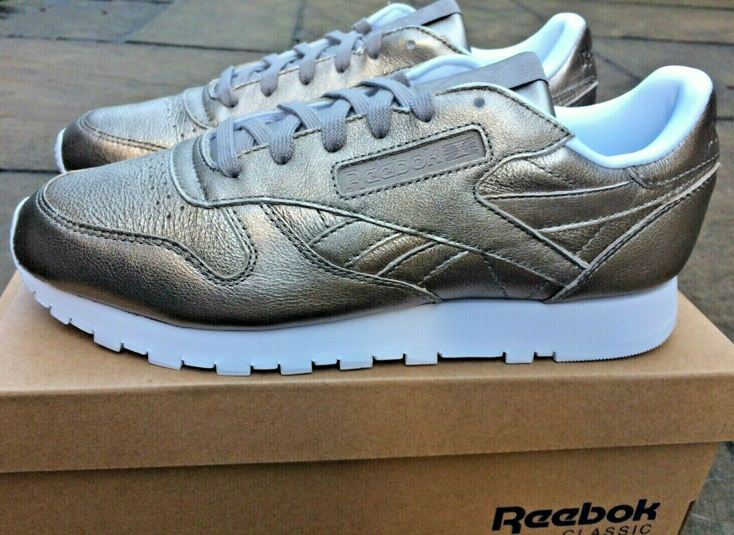 Womens Reebok Trainers Classic Leather Melted Metal gold New In Box BNIB