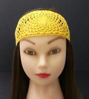 Crochet Headband Yellow With Button Closure