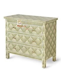 Handmade Bone Inlay Chest Of 3 Drawers Crafted Home Decor Inlay Furniture Gift