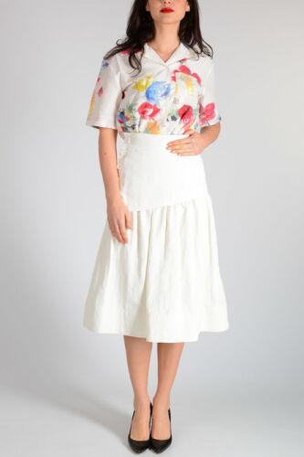 CELINE ivory linen asymmetrical pleat skirt SZ 44/