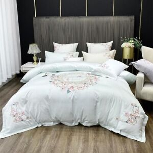 Egyptian-Cotton-4Pcs-Cover-Set-Vintage-Embroidered-Floral-Bedding-Bed-Sheet