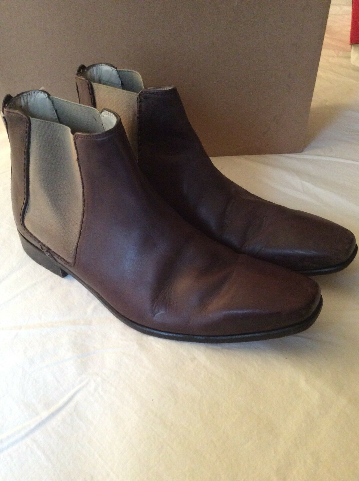 Ted Baker Brown Leather Stretch Men Ankle Boots Shoes SZ 8 US 7 EU