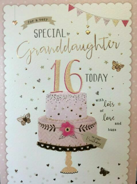 Admirable Granddaughter Happy 16Th Birthday Card Cake Design For Sale Funny Birthday Cards Online Fluifree Goldxyz