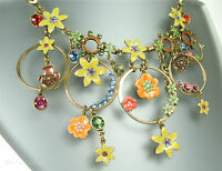 Pilgrim Vintage Necklace Enchanted Flower Dark Gold Multi Colour Swarovski