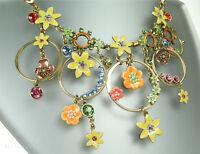 Pilgrim Vintage Necklace Enchanted Flower Dark Gold Multi Colour Swarovski