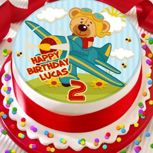 comestible cake topper B-095G environ 19.05 cm Child/'s Avion Joyeux Anniversaire Personnalisé 7.5 in