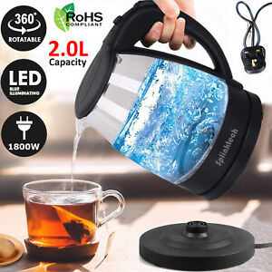 2-0L-Electric-Glass-Kettle-Blue-LED-Illuminated-360-Black-Cordless-Portable-Jug