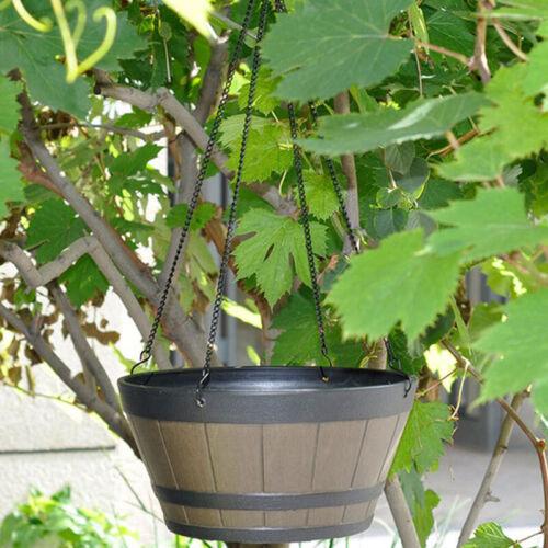 "Garden Fake Wooden Barrel Resin Hanging Flowerpot Planter Nursery Decor 12/"""