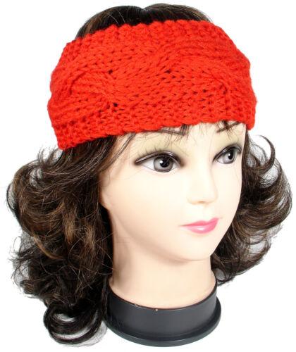Women Lady Winter Warm Crochet Cable Knit Head Wrap Headband Ear Warmer Muffs