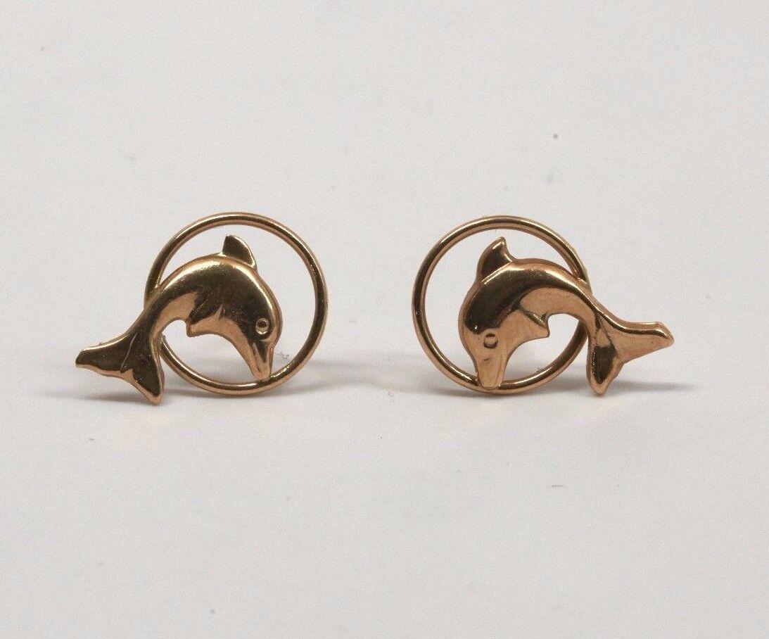14K Yellow gold Dolphin Jumping Through Hoop Earrings