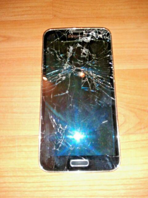 *BROKEN*CRACKED SAMSUNG GALAXY S5 SM-G900W8 UNLOCKED CELL PHONE PARTS LCD SCREEN