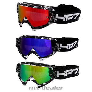 Hp7-MX-Motocross-Enduro-Occhiali-CAMO-Nero-a-Specchio-Vetro-chiaro-Crossbrille-MTB
