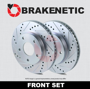 FRONT SET BRAKENETIC SPORT Drilled Slotted Brake Disc Rotors BNS45070.DS