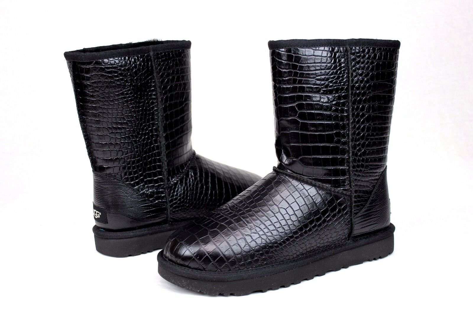 26449027975 UGG Classic Short Croco TL Black Leather Sheepskin BOOTS US 5/ EUR ...
