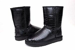 74790359a85 Ugg Classic Short Croco Black Glossy Leather Women Boot Size 5 US ...