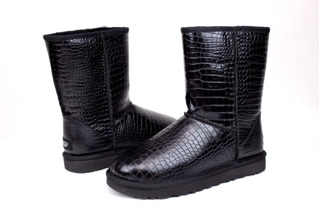 d664104f9fa3 Ugg Classic Short Croco Black Glossy Leather Women Boot Size 5 US NEW IN BOX