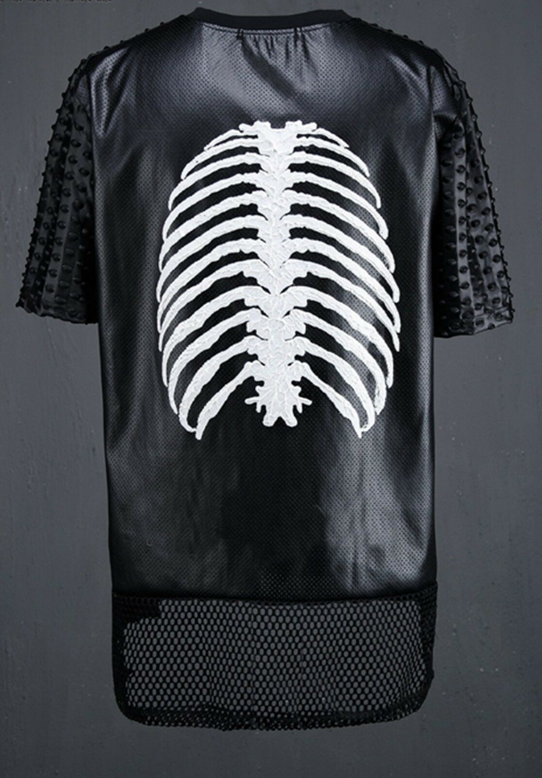 K-POP gothic skeleton ribs extended faux Leder unbalanced mesh t-shirt jersey