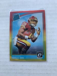 2018-Donruss-Optic-Red-and-Yellow-157-Derrius-Guice-Redskins-Rated-Rookie