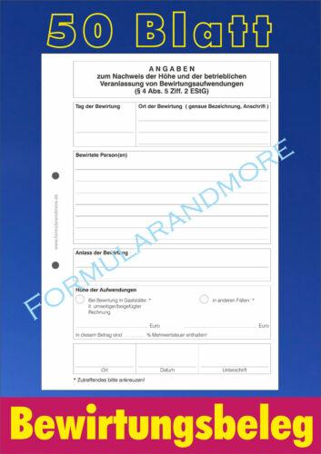 Bewirtungskosten Abrechnung Bewirtungsbeleg,50 Blatt DIN A5 Bewirtungsspesen