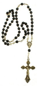 Antique french art deco laiton & Jet Glass Bead Rosary