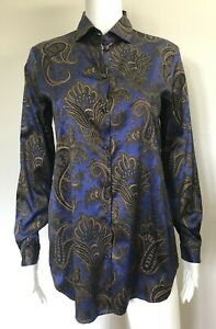 ETRO Blue Gold Paisley Print Silk Blend Blouse Top, sz 40