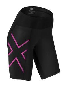 Womens-Mid-Rise-Compression-shorts-Medium-Black-amp-Cerise