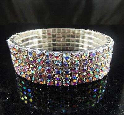 Wedding Bridal 5 Row AB Crystal Rhinestone Stretch Bracelet Bangle Wristband