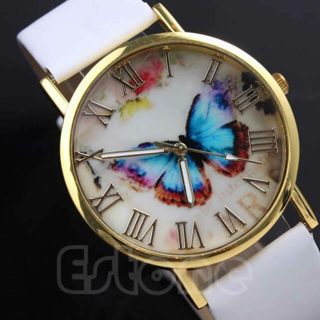 Fashion Leather Band Chic Butterfly Style Womens  Analog Quartz Wrist Watch