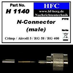 1-Stueck-N-Stecker-Crimp-fuer-Aircell-5-RG-58-Koaxkabel-50-H1140