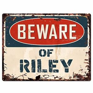 Pbfn 0669 Beware Of Riley Plate Rustic Chic Sign Home Decor Funny