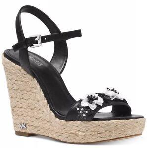 2d9d5897bdc New Michael Kors Jill Espadrille Wedge Sandals black Sequin flowers ...