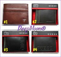 Guess Wallet Mens Leather Bifold Or Passcase Black Brown Gift Box