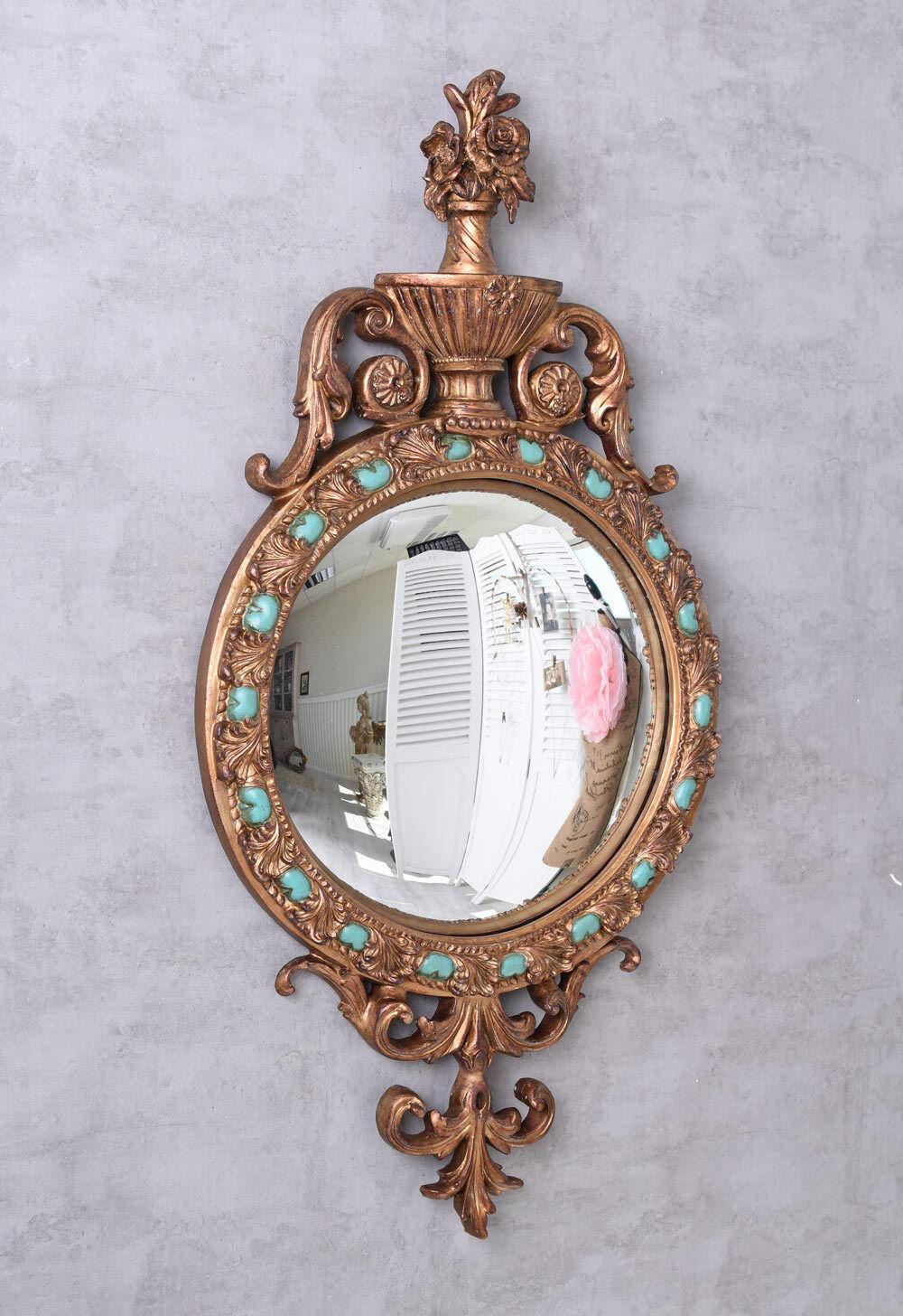 Miroir Déco convexe baroque mural ancien de couloir vintage