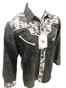 Mens-RODEO-WESTERN-COUNTRY-BLACK-PAISLEY-Long-Sleeve-Woven-SNAP-UP-Shirt-Cowboy