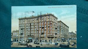 Vintage-colored-postcard-King-Edvard-Hotel-Toronto-Canada-1912-old-streetcars