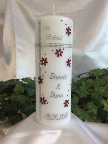 Hochzeitskerze 200//70mm Weinrot//Weiß//Silber mit Kreuz und Blumen H0158