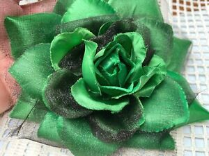 """New Millinery Flower 5.5"""" Silk Sheer 1pc Accessory Clip/Pin Emerald Black"""