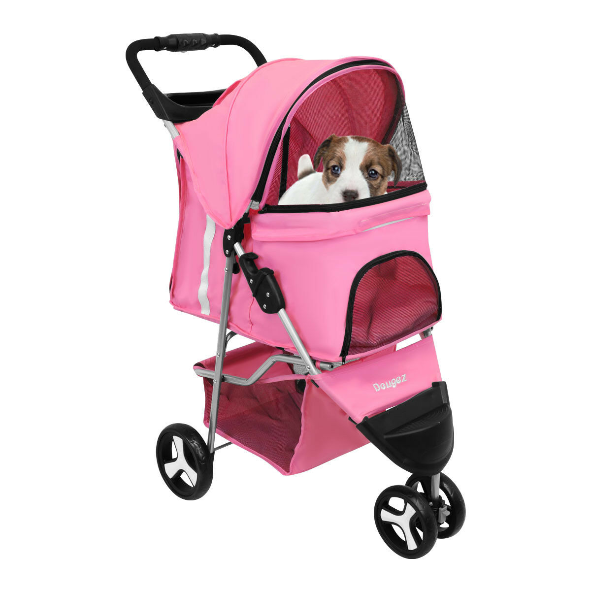 3 Wheel Dog Cat Pet Travel Stroller Folding Carrier Zipper ...