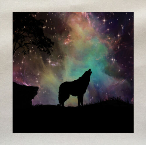Printed Fabric Panel Make A Cushion Upholstery Craft Wolf Starry Sky Howling