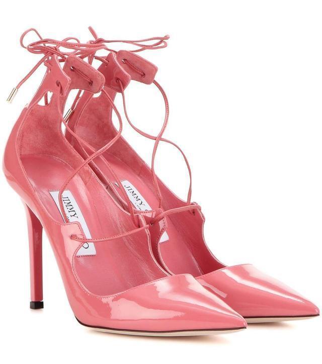 Jimmy Choo Choo Choo Vita 100 rose Cuir Verni Chaussures Bout Pointu Lacet 37 -6.5 e3d7ae