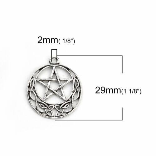 Celtic Star 29mm Wholesale Antiqued Silver Charm Pendants C7390-5 20PCs 10