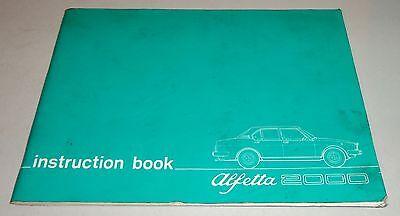 2019 Neuer Stil Betriebsanleitung Owner's Manual Alfa Romeo Alfetta 2000 Facelift, 1977
