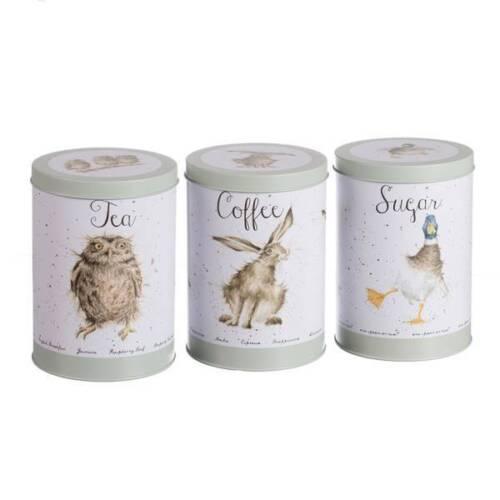3er Set réserve doses pour thé café et sucre métal Wrendale Design