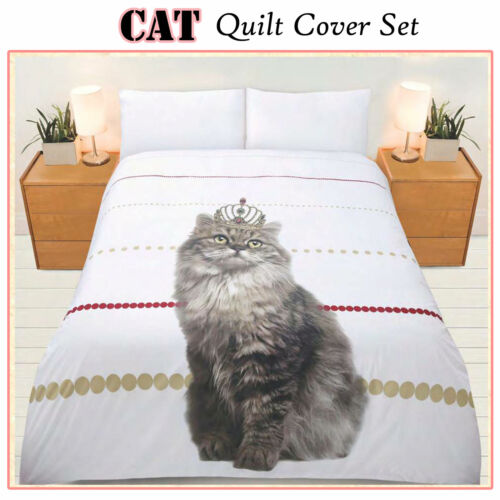 SINGLE DOUBLE QUEEN Adorable Pussy Cat Quilt Doona Cover Set