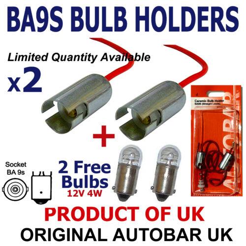 2 FREE BULBS 233 12V 4W 2x BA9S T4W Side Light Bulb Socket Holder Metal