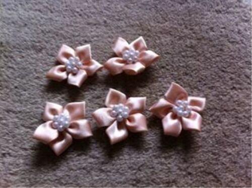 Satin Ribbon Poinsettia Flowers with Pearl Beads Various Colours to choose from